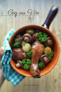 Classic coq au vin recipe, a French chicken in red wine stew with mushrooms! And a great make ahead dinner... Serve with mashed potatoes or fries!