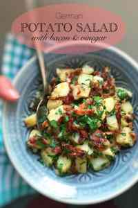 My classic German potato salad recipe... a delicious easy side dish recipe with bacon and potatoes, perfect for grilled fish or pork!