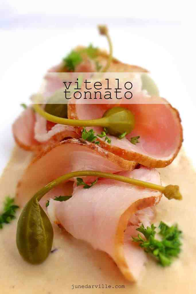 Gorgeous vitello tonnato: leftover cold veal roast topped with a mayo and tuna sauce with capers! What a great Italian recipe!