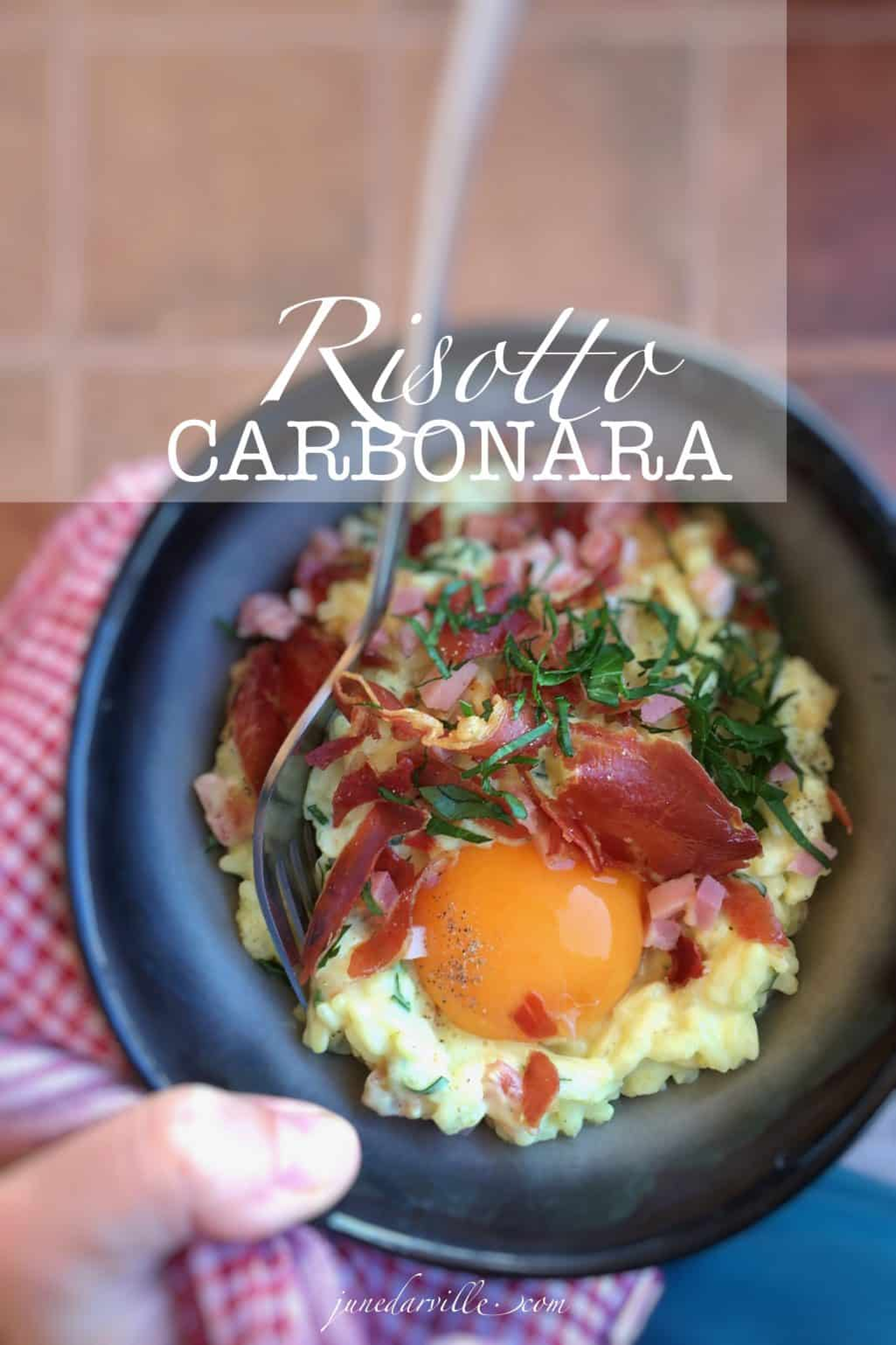 Here's a deliciously creamy risotto carbonara with bacon: or how to make two Italian classic recipes rolled into one dish!