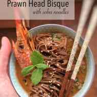Prawn Head Soup with Soba Noodles