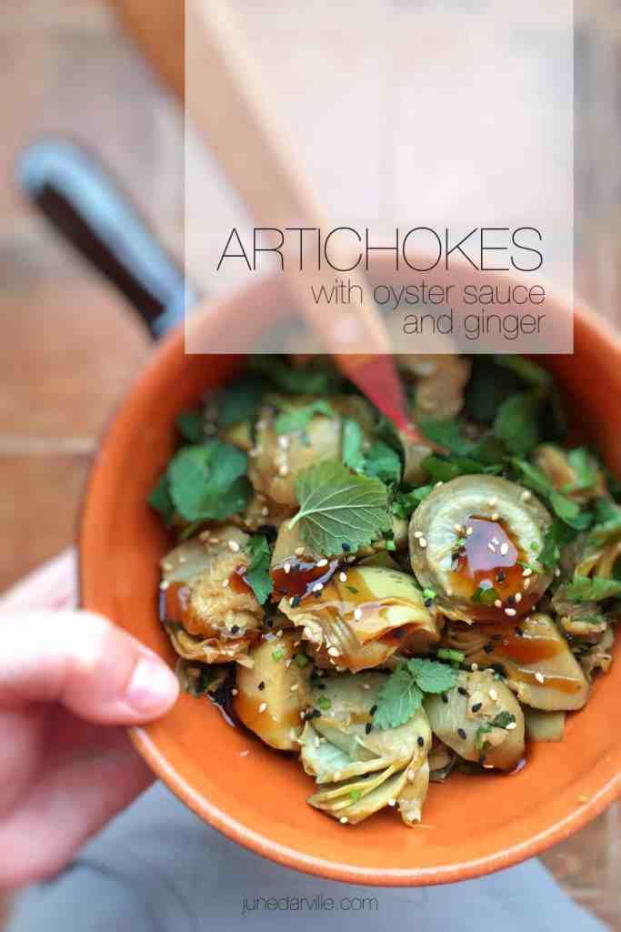 Fusion cooking in your kitchen: artichokes in oyster sauce and ginger, a powerful side dish for pork or beef!