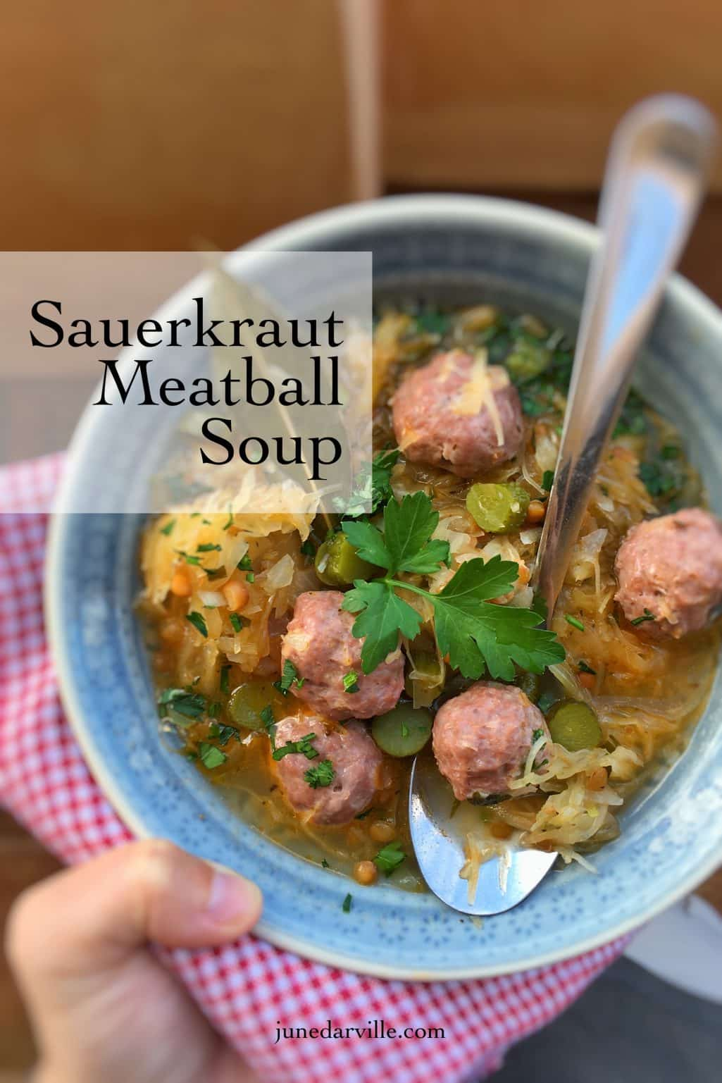 This is a great and filling meal soup: delicious meatballs, lentil and mustard are what you need for this sauerkraut soup recipe!