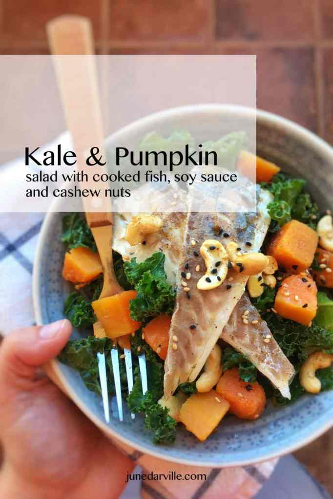 Cooked fish fillets, stir fried pumpkin, crunchy cashew nuts and soy sauce... this kale salad recipe is a healthy lunch idea!