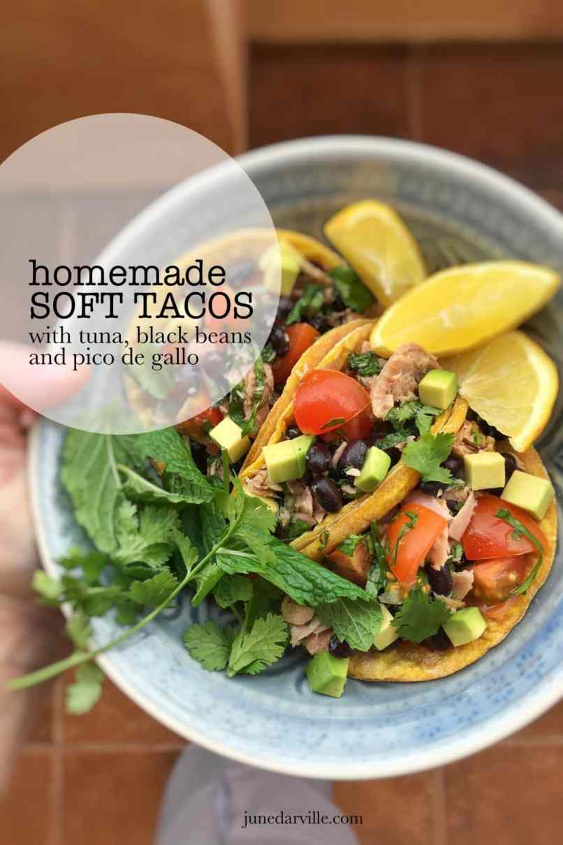 One hour is all it takes to bake and stuff these homemade soft tacos! Fill them up with tuna, avocado and pico de gallo... Yum!