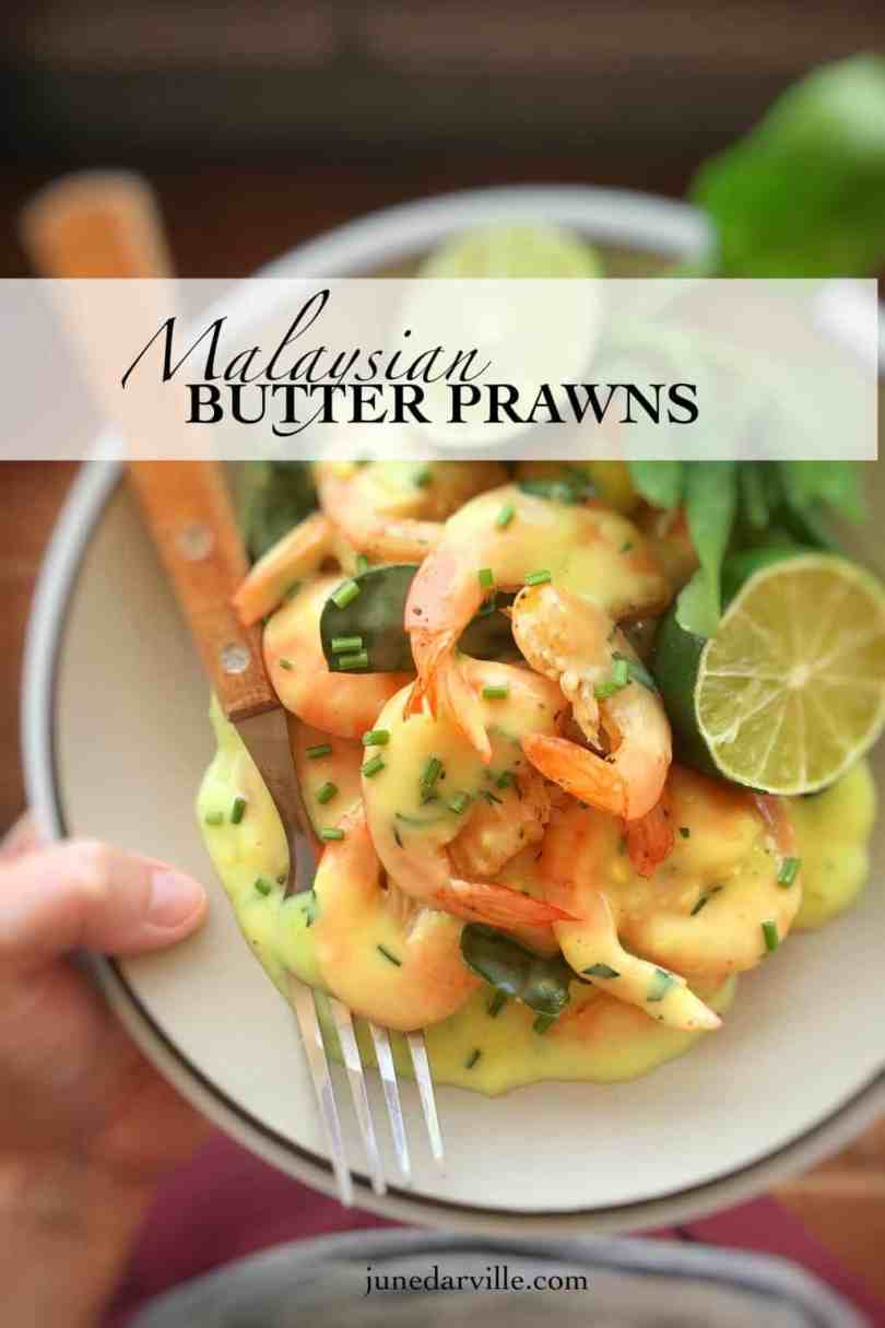 My creamy butter prawns recipe: a Malaysian recipe for prawns in a creamy curry leaf sauce... The most popular recipe here on my website!