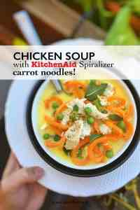 Watch my video of how I'm preparing a creamy chicken and carrot noodle soup using my fabulous KitchenAid stand mixer Spiralizer and Cook Processor!