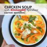 Carrot Noodle Soup with Shredded Chicken