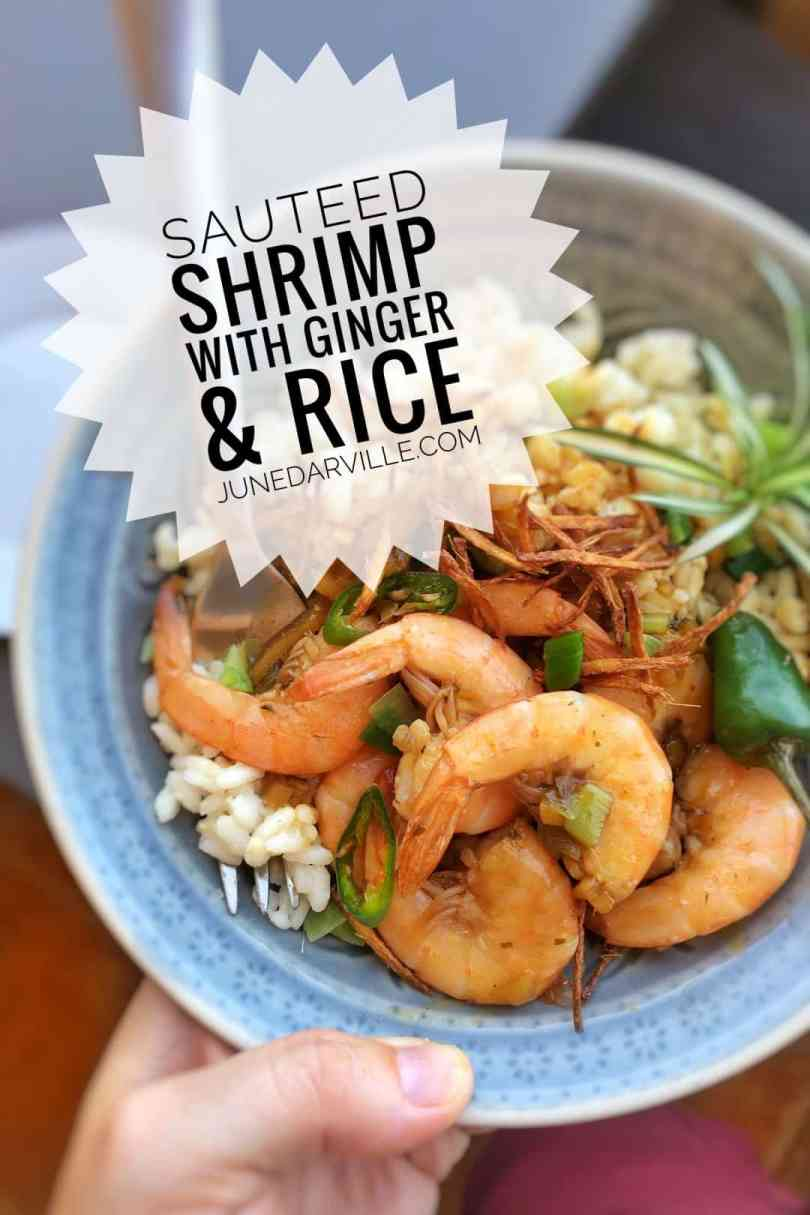 Sauteed shrimp, a simple seafood stir fry with fresh ginger and a flavorful soy sauce marinade... you will love this one!
