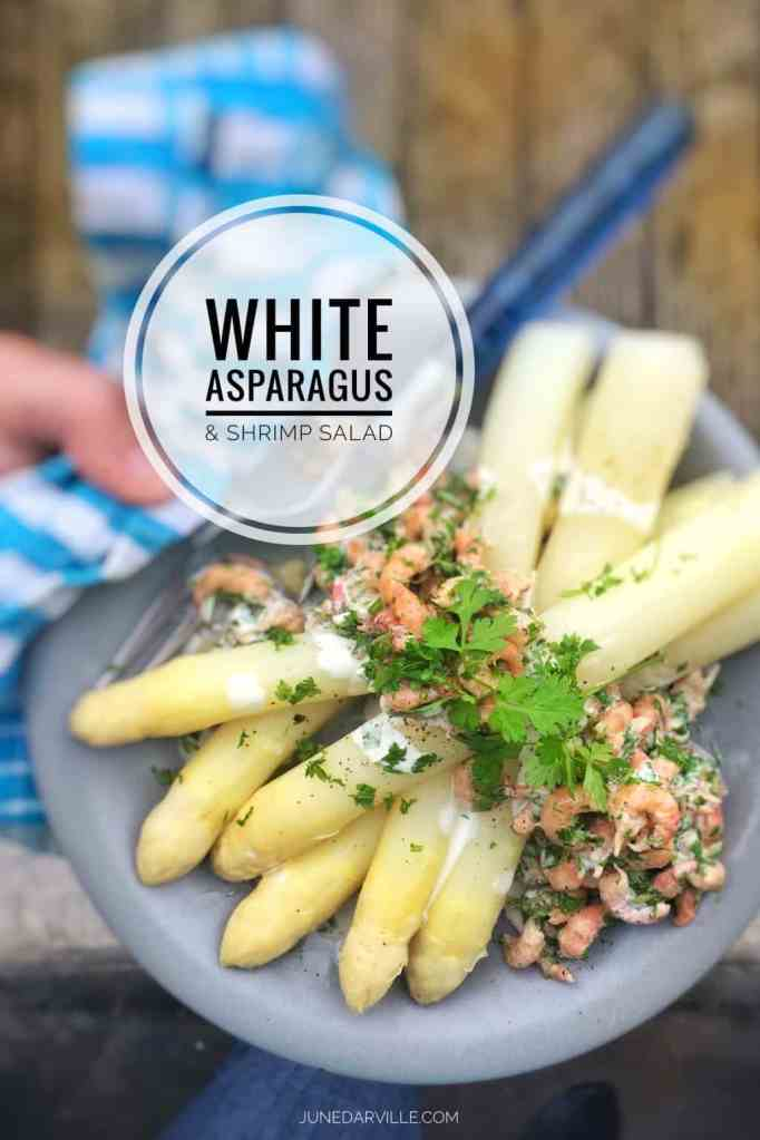 Another plateful of nostalgia for me: boiled white asparagus with shrimp salad... Belgian top notch delicacies and a definite must try!