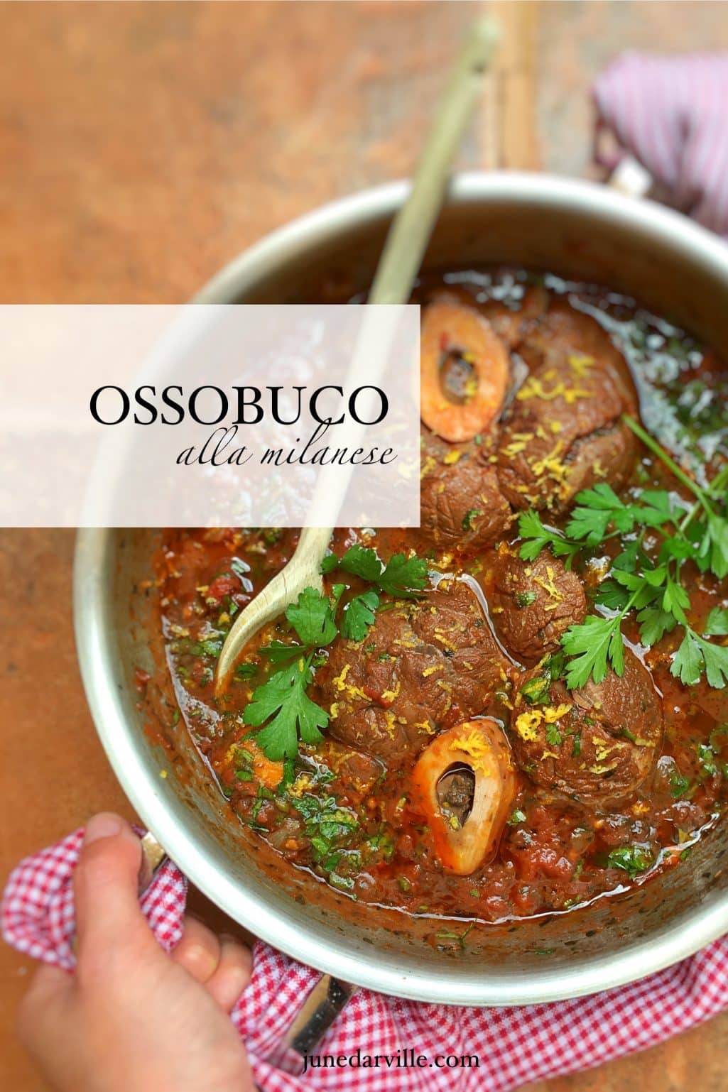 Traditional ossobuco alla Milanese! Or classic braised veal shanks in a flavorful tomato wine sauce with zesty gremolata...