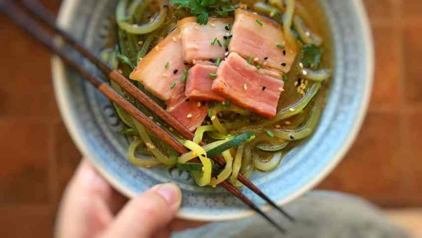 Watch my video of how I'm preparing my zucchini noodle soup with miso and bacon, using my fabulous KitchenAid stand mixer Spiralizer and Cook Processor!