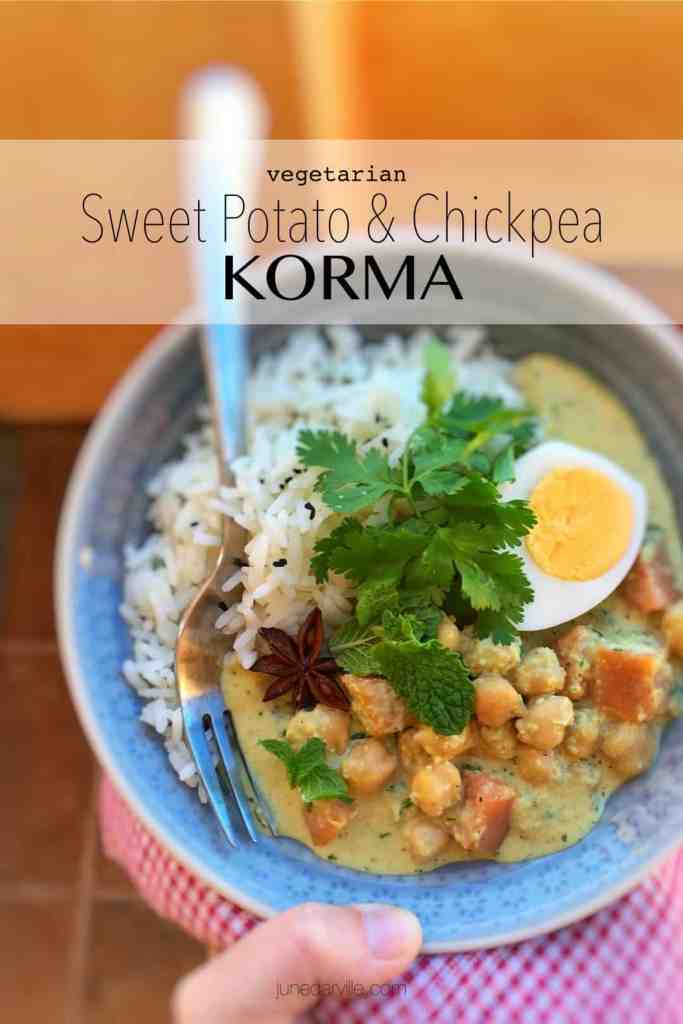 Creamy cashew curry with yogurt sweet potatoes and a bunch of savory Indian spices and flavors... you will love this chickpea korma recipe!