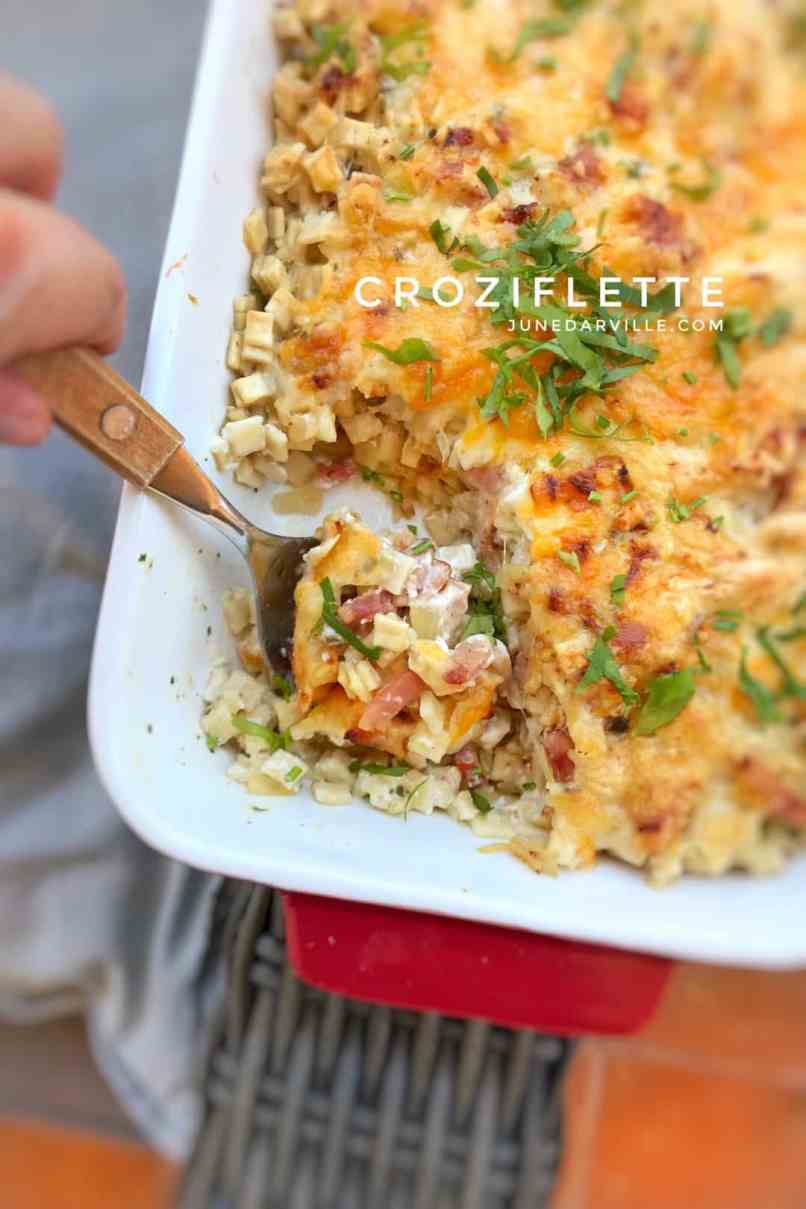 My croziflette: a French pasta bake with local crozets, bacon and reblochon cheese. One of my favorite French Alps mountain dishes!