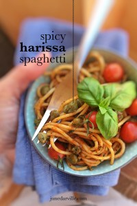 Red alert because this hot and spicy pasta bowl is so addictive! It contains al dente spaghetti, capers in brine, olive oil and highly delicious harissa paste.