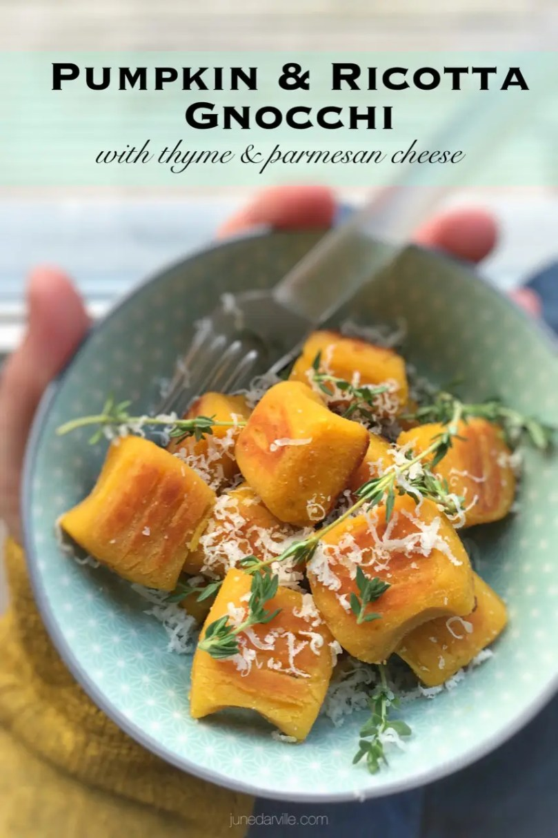 Crunchy pan seared pumpkin gnocchi with ricotta cheese and parmesan cheese... This homemade gnocchi recipe is a great autumn side dish! And also fun to make...
