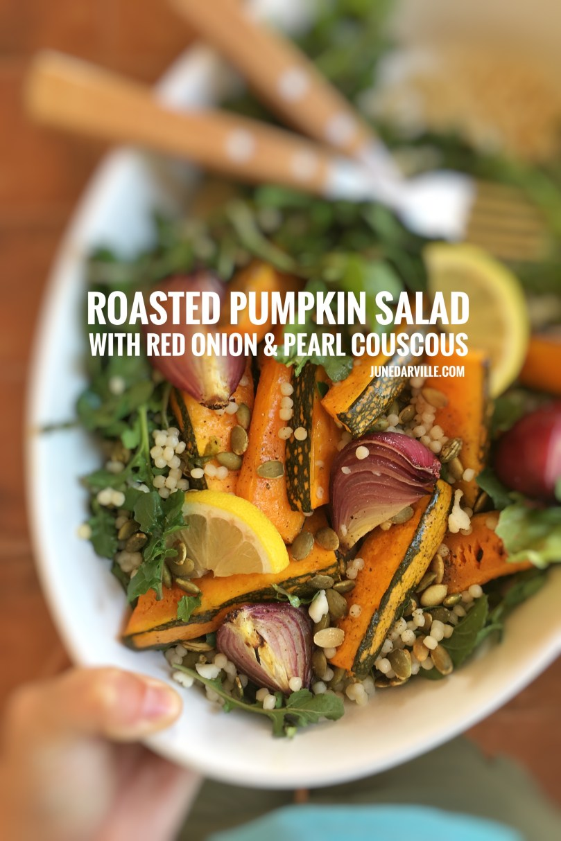 Here's a wholesome roasted pumpkin salad with roasted red onion, arugula, pearl couscous and pumpkin seeds. What a top notch vegetarian dinner this is as well