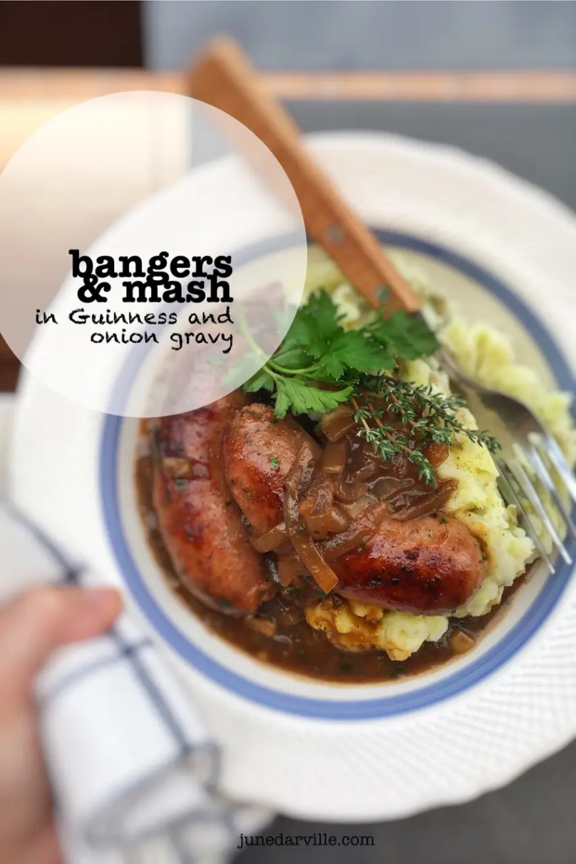 This is hands down my husband's favorite comfort food: fried bangers and creamy potato mash topped off with a strong Guinness and onion gravy!