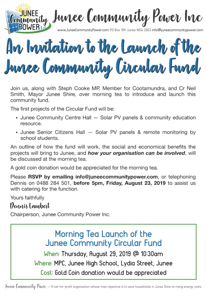Invite to Junee Community Power's Launch of the Junee Circular Fund Morning Tea Launch