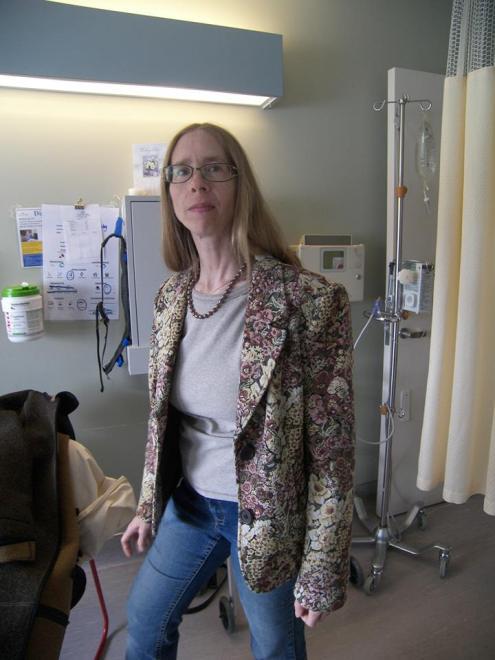 This brocade jacket looks great on Carol