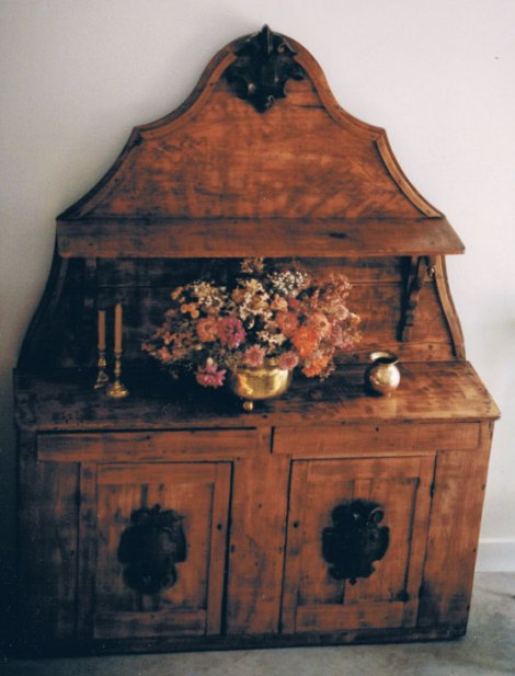 Antique pine sideboard that she refinished.