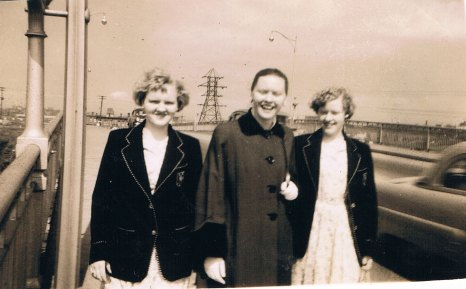 June with her twin sisters in Saint John, NB where they lived and worked for a while.