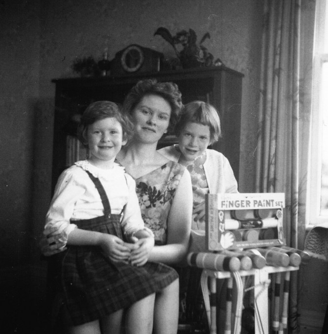 Pam, June and Heather on Heather's 7th birthday, 1965.