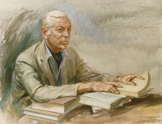 BBCs famous broadcaster Alistair Cooke, painted by June Mendoza (copyright Mendoza - www.junemendoza.co.uk)