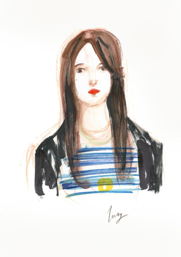 Illustrated portrait of Lucy painted in 7mins by June Sees