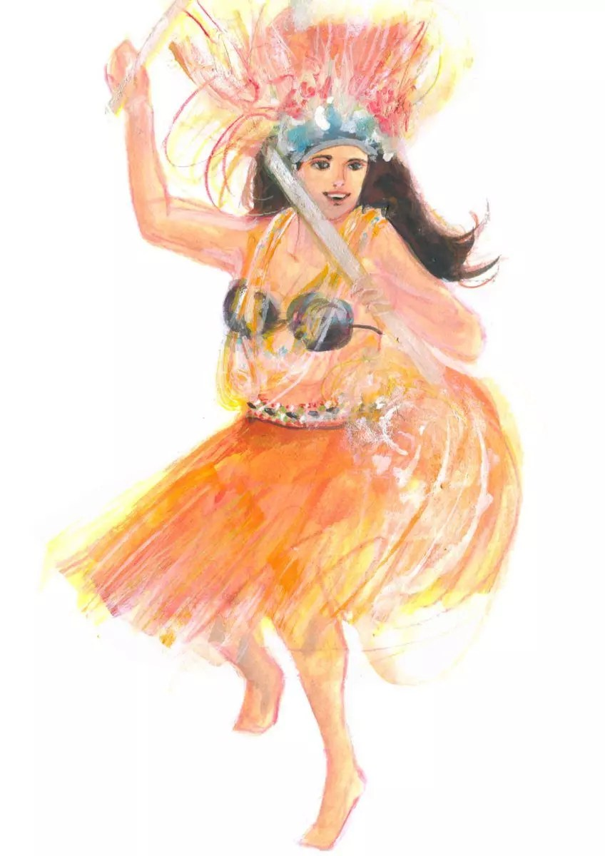 Painted Illustration of a Dancer from Cook islands. World Dance Illustration by June Sees