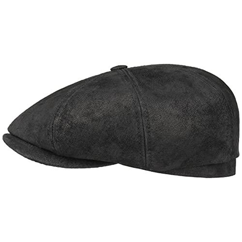 Stetson Hatteras Pigskin Flatcap Herren   Schirmmütze aus Leder   Schiebermütze mit Innenfutter   Mütze   Herrencap Sommer/Winter   Ballonmütze schwarz XXL (62-63 cm)