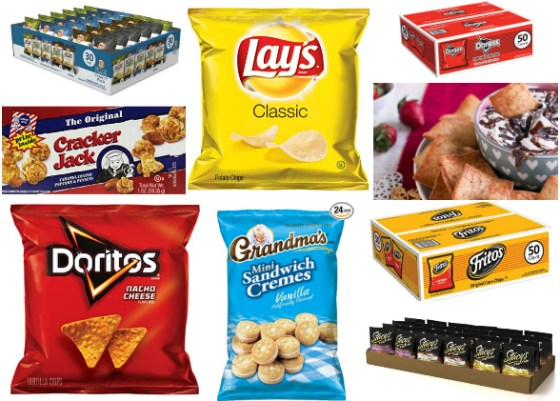 Snacks such as lays chips, doritoes, chocolate and crackers