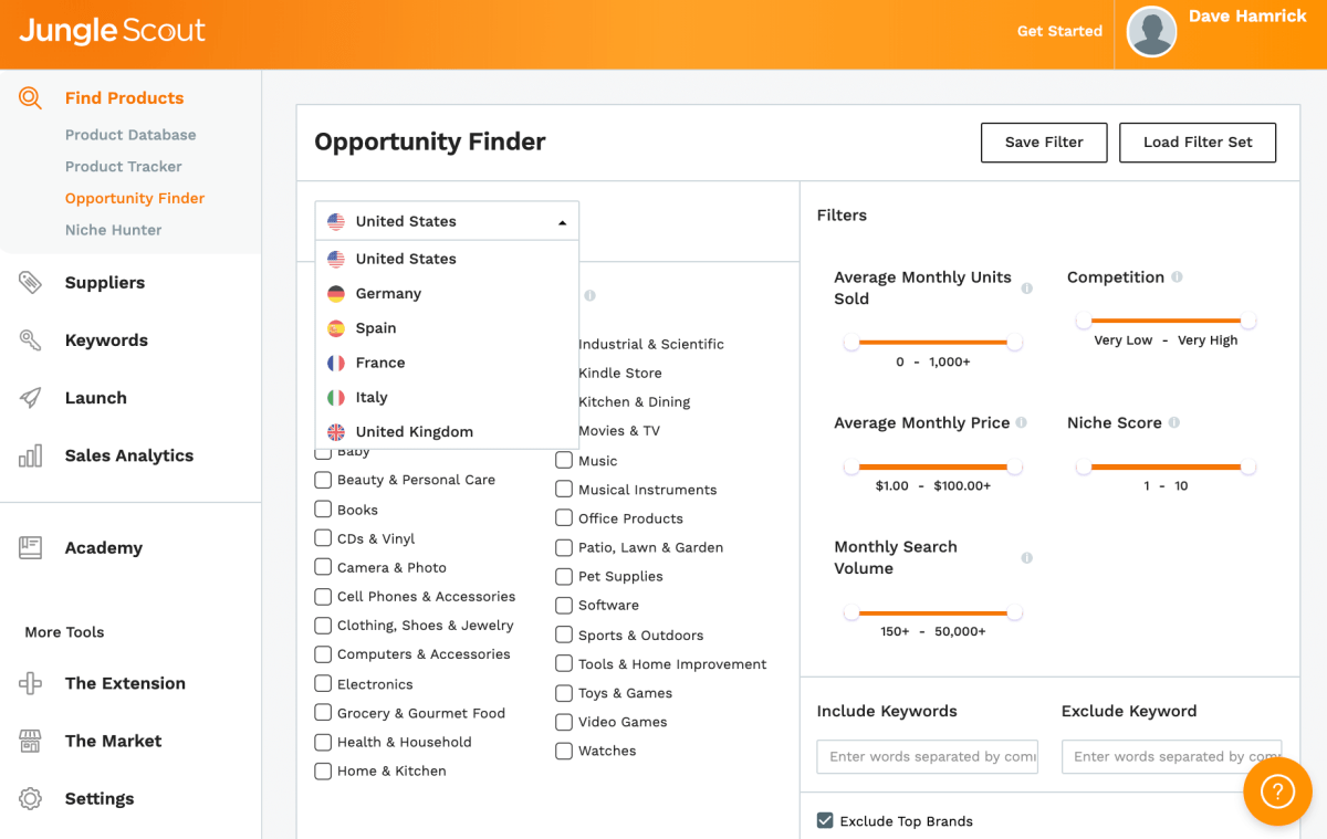 Jungle Scout Opportunity Finder