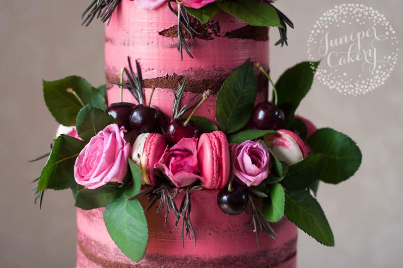 Gorgeous pink naked cake by Juniper Cakery
