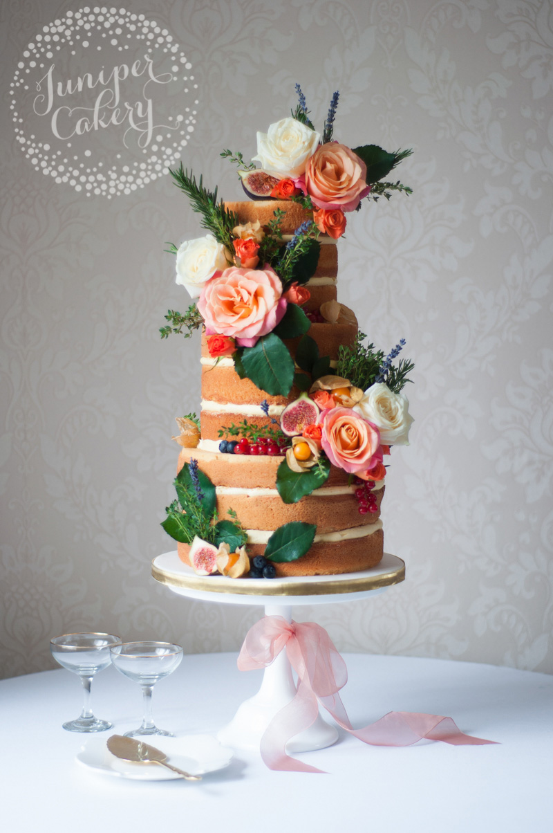 Autumnal naked wedding cake by Juniper Cakery