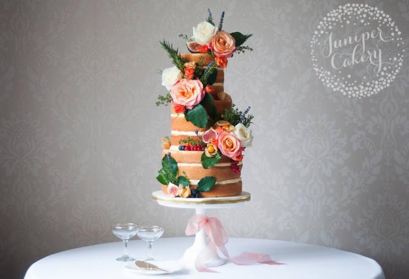 Orange rose naked cake by Juniper Cakery