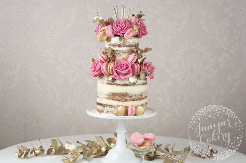 Pink and gold naked birthday cake by Juniper Cakery