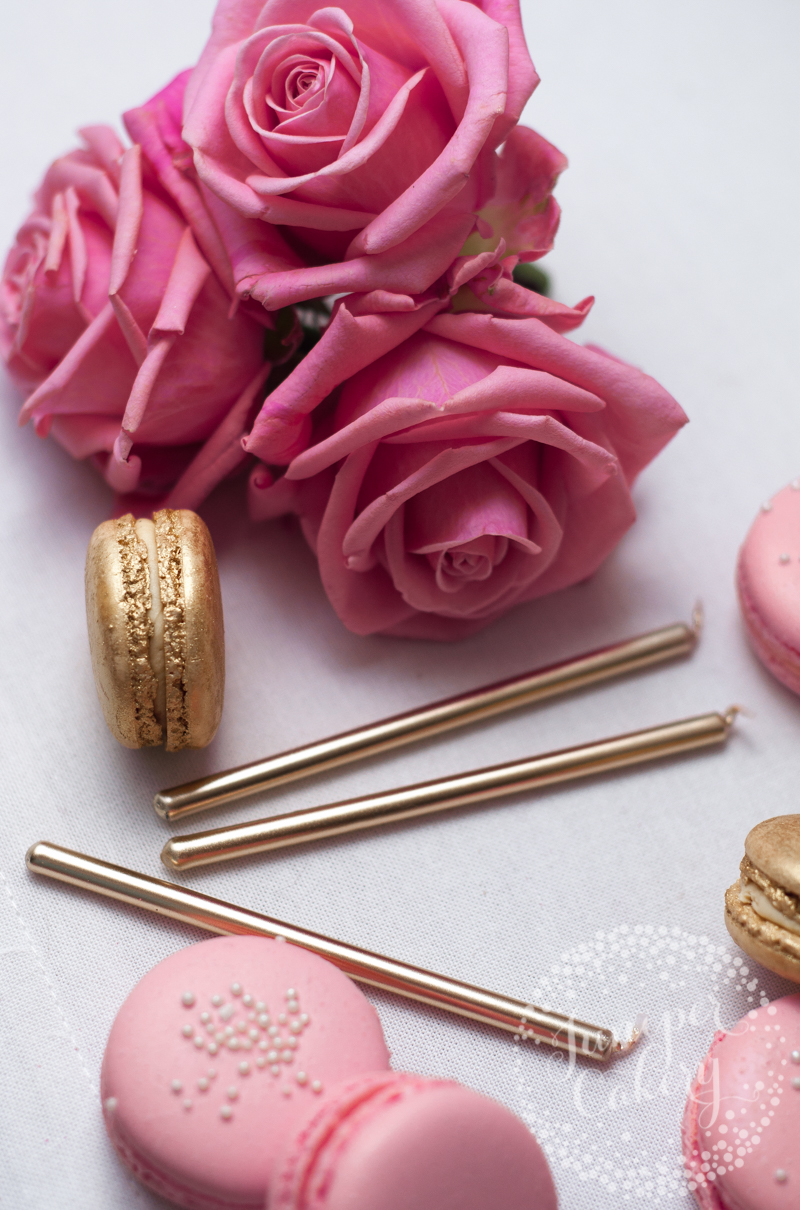 Pink and gold macarons by Juniper Cakery