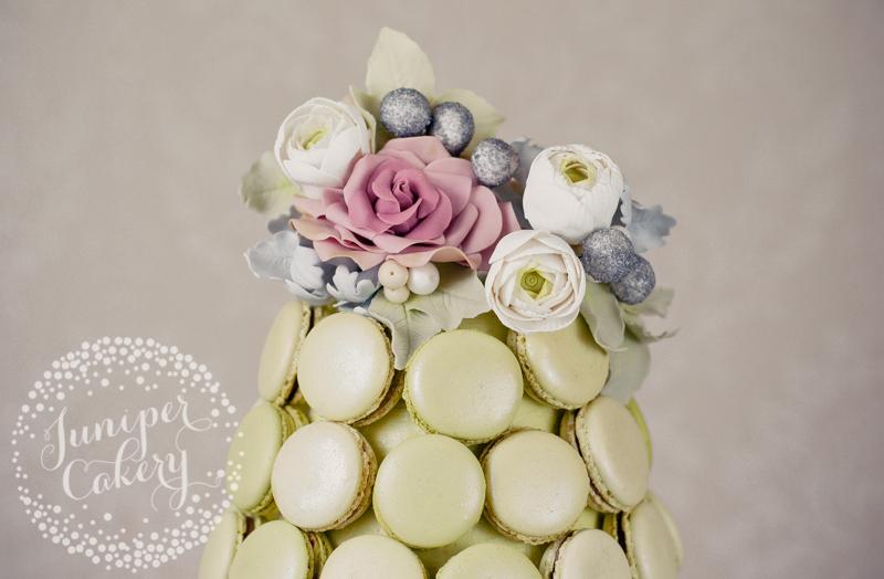 Pretty winter macaron tower wedding cake by Juniper Cakery