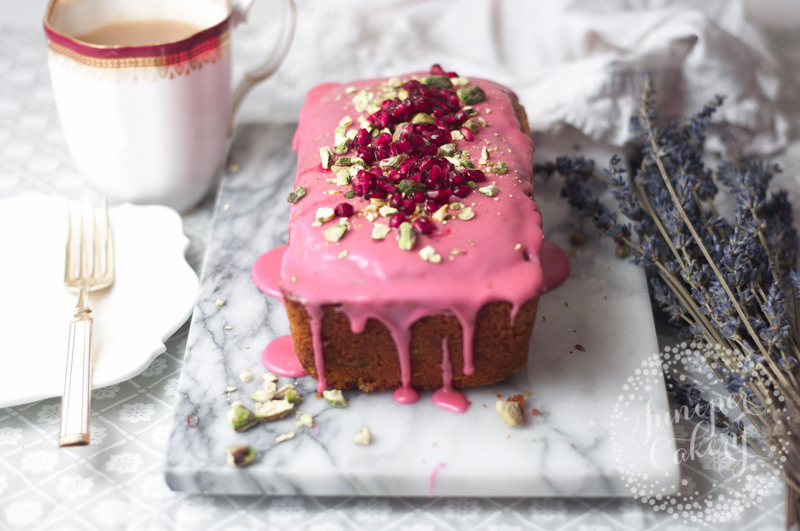 Tasty Carrot, pistachio and pomegranate loaf recipe by Juniper Cakery