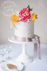 Floral damask cake by Juniper Cakery