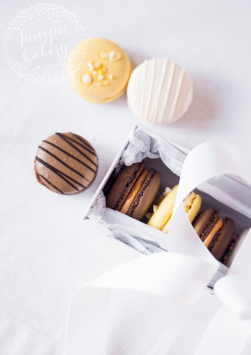 Salted Caramel Macarons and Lemonade Macarons by Juniper Cakery