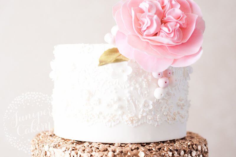 Brush embroidery lace detail on wedding cake by Juniper Cakery
