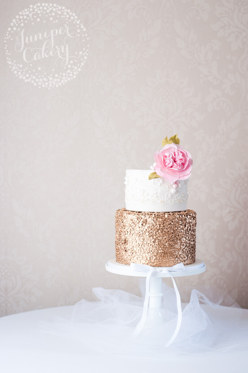 Marchesa Inspired Lace And Gold Sequin Wedding Cake