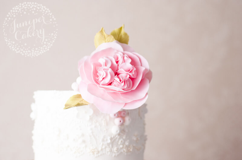 Marchesa brush embroidery lace inspired wedding cake by Juniper Cakery