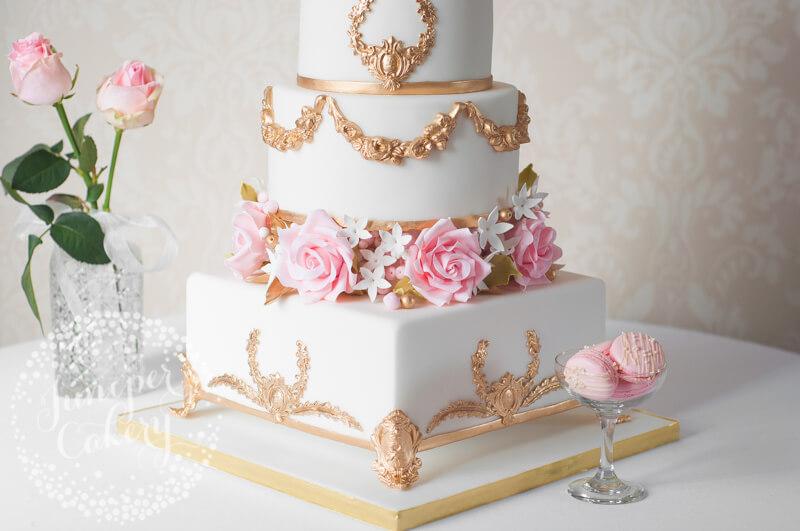 Ornate Gold and Blush Pink Wedding Cake!