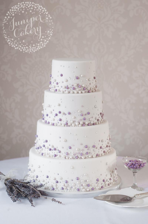 Pearl studded wedding cake by Juniper Cakery - Juniper Cakery ...