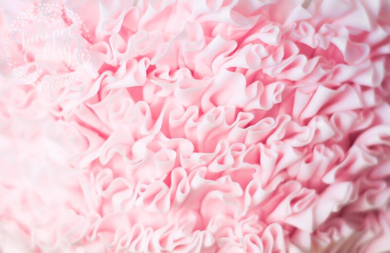 Beautiful pink fondant ruffles by Juniper Cakery