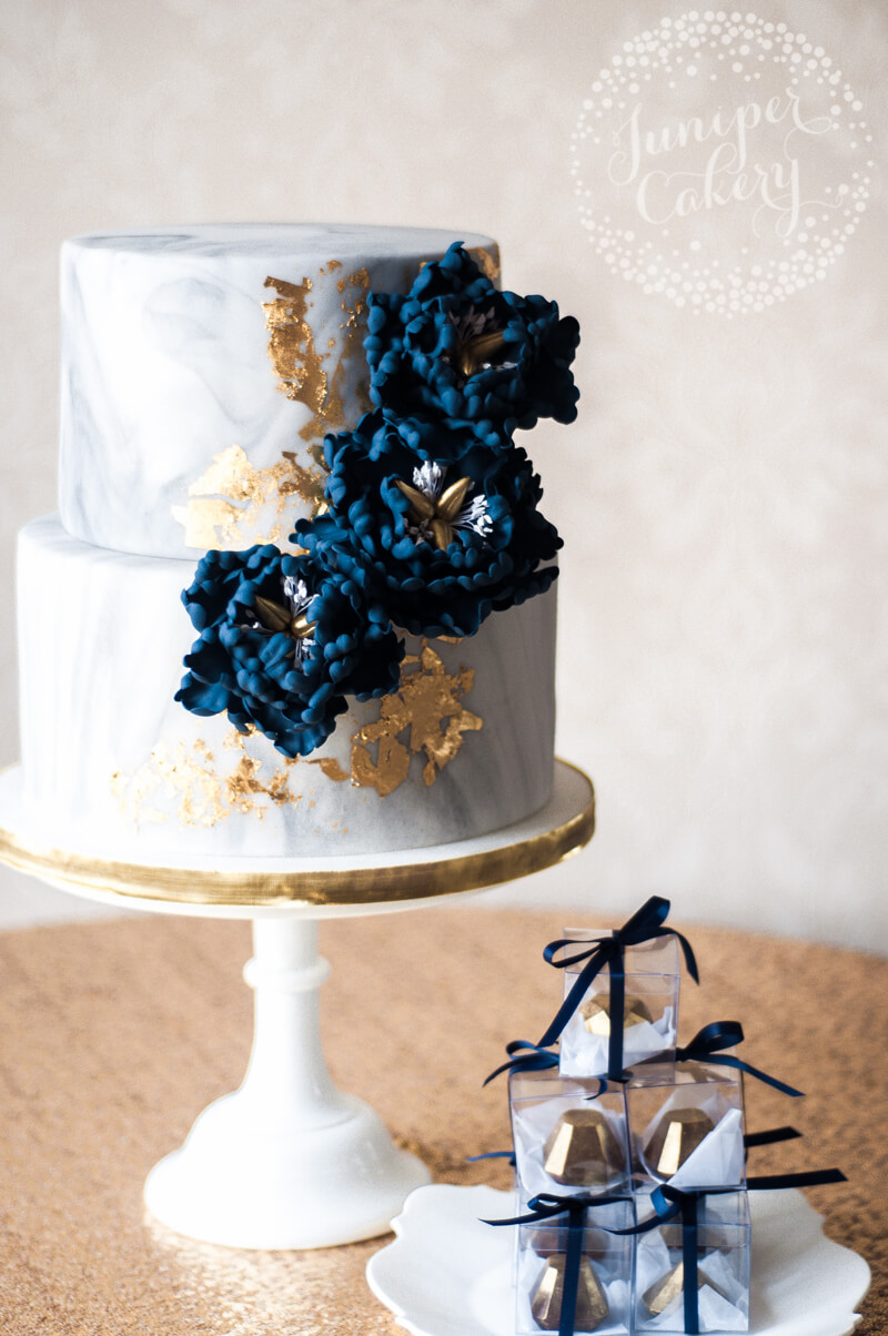 Modern Marbled Gold and Navy Peony Wedding Cake