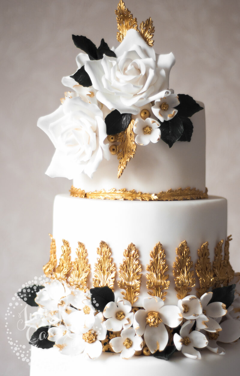 Beautiful Rococo inspired wedding cake by Juniper Cakery